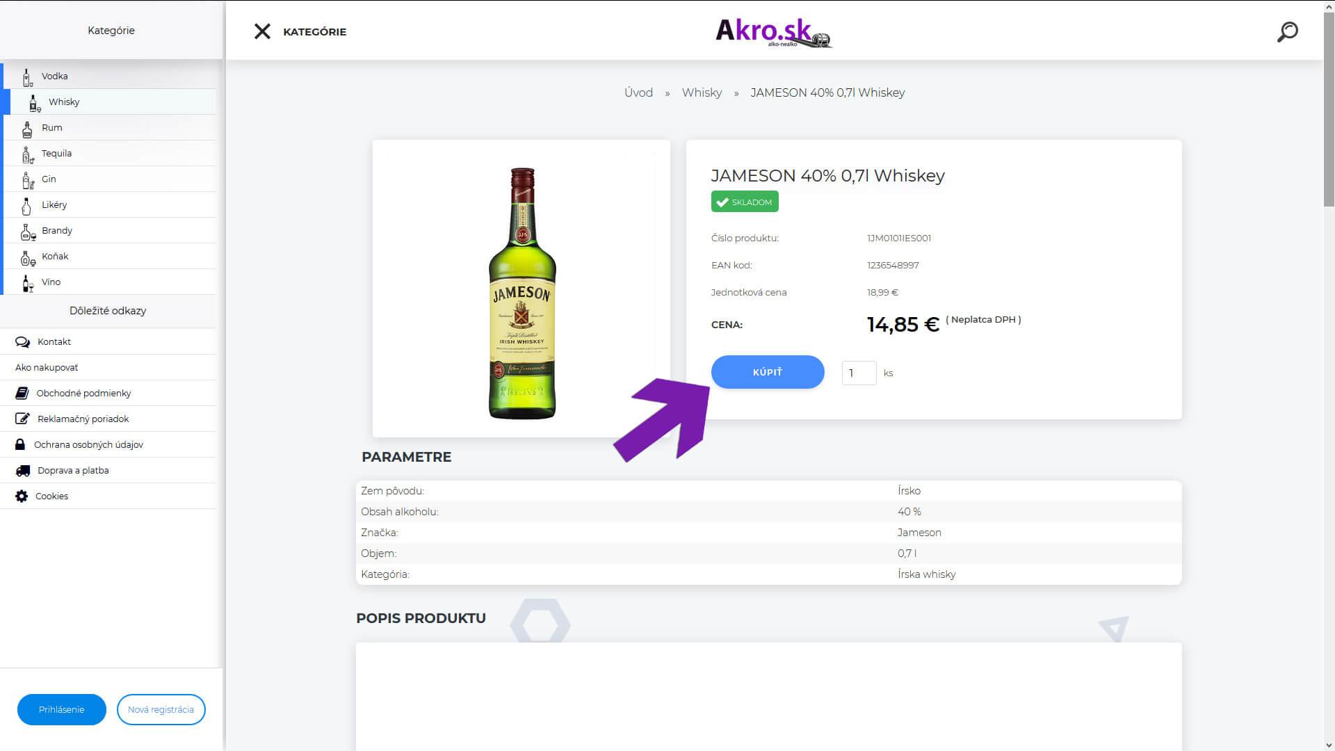 d33ff49024907 Vyhovujúci produkt viete vložiť do nákupného košíka buď z výpisu produktov  v kategórii, alebo hlbšie v detaile produktu kde nájdete okrem iného aj  parametre ...